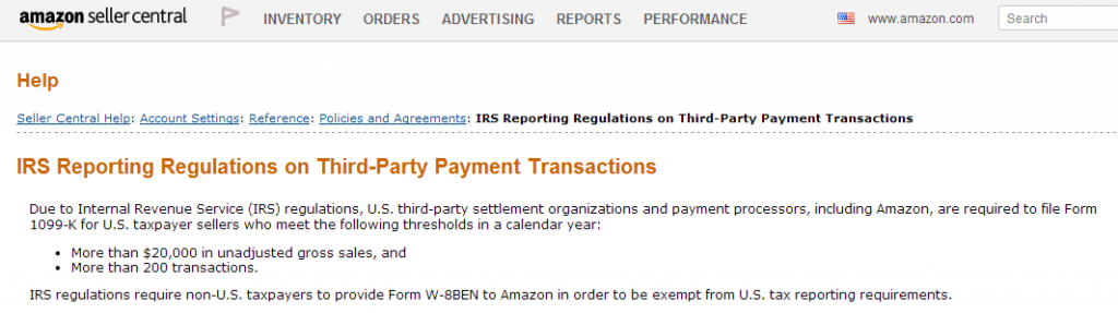 Fulfillment by Amazon's IRS Reporting Requirements