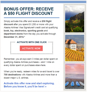 Targeted $50 Alaska Air Flight Credit from Bank of America
