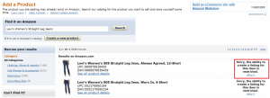 FBA Seller Central trying to list Levis Women Jeans.