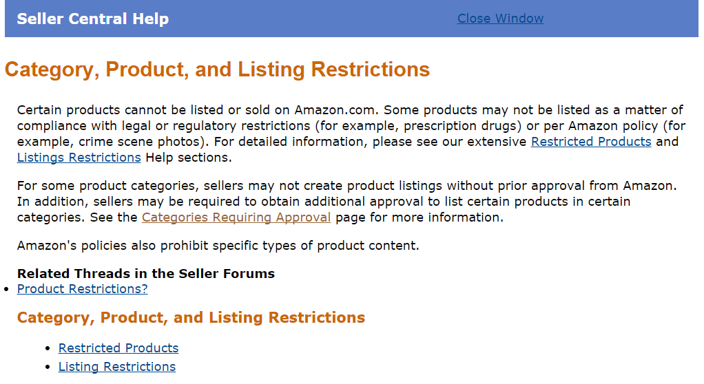 Amazon Seller Center Category, Product, and Listing Restrictions.