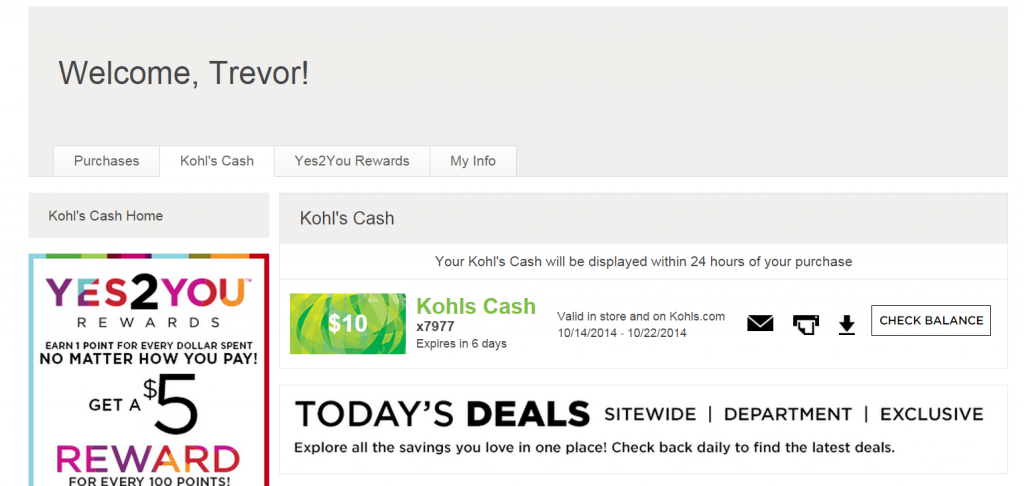 Kohl S My Account Kohl S Cash And Yes2you Rewards Tagging Miles