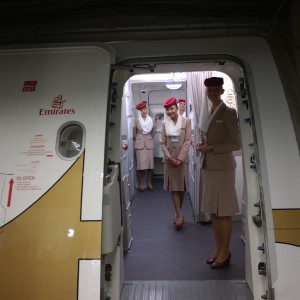 Boarding the Emirates A380 via Door 1UL.