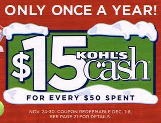 $15 Kohls Cash for every $50 Spent from 24-30 November!