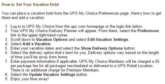 UPS Vacation Hold Instructions