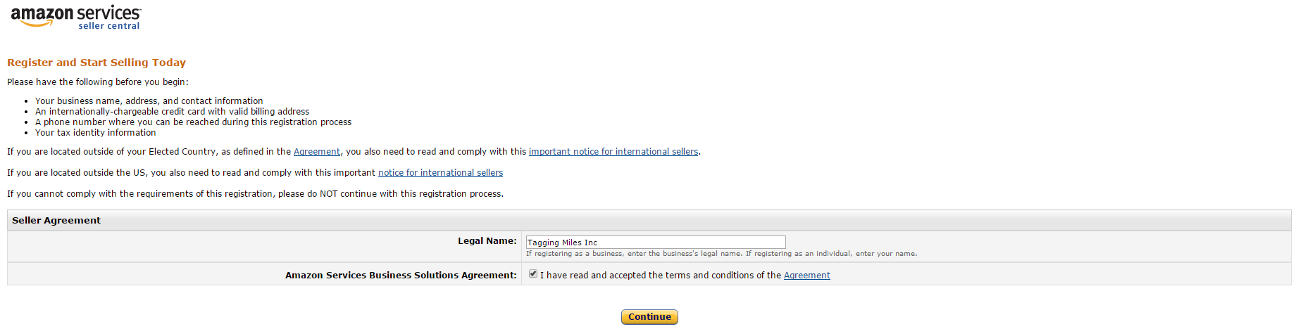 Registering For Amazon Seller Tagging Miles