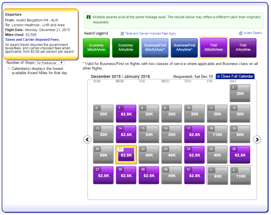 4 First Class Award seats December-January from Austin to London!