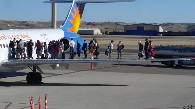 Allegiant Air passengers on a wing, Courtesy of The Boise Airport