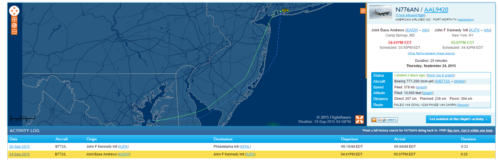 Pope Francis' flight Joint Base Andrews to JFK, courtesy of Flightaware.com