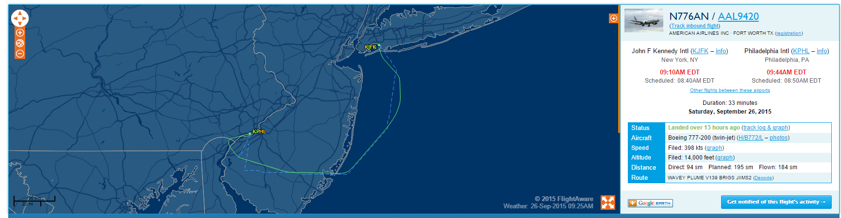 Pope Francis' flight JFK-PHL courtesy of Flightaware.com