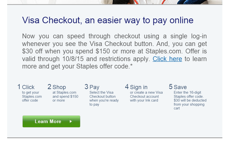 visa checkout offer 30 off 150 at staples tagging miles
