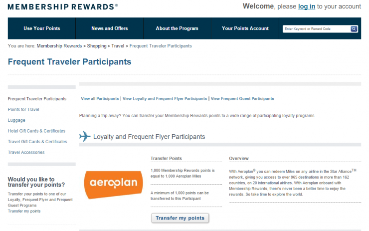 AMEX MR to Aeroplan