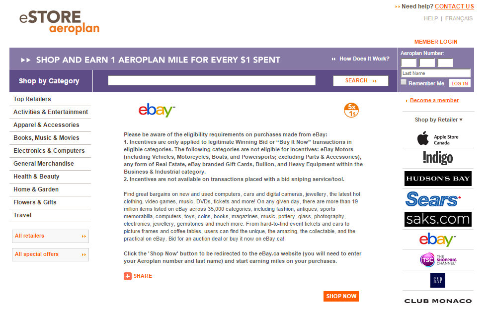 Ebay 5x Via Aeroplan Estore And Targeted Ebay Bucks 5x Tagging Miles