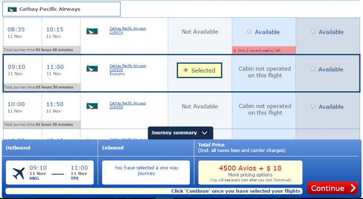 BA 4500 availability - HKG-TPE