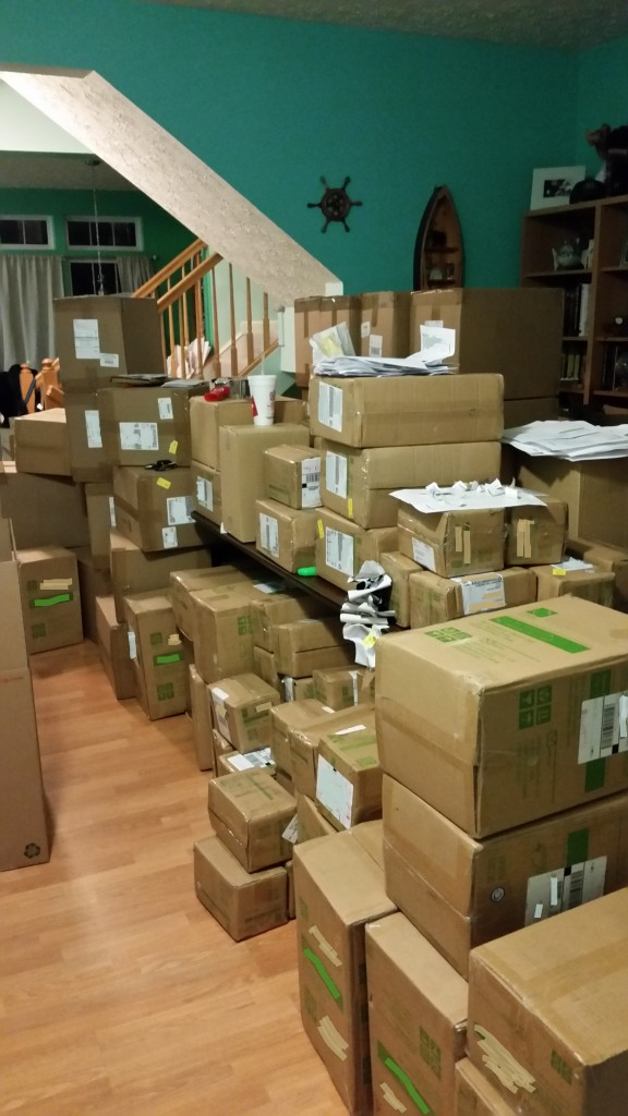 boxes in front room