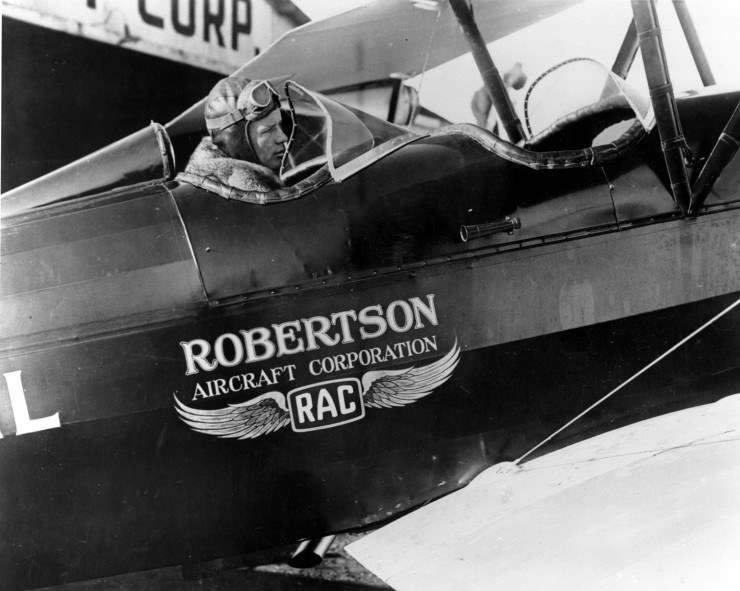 Lindbergh in a Robertson Aircraft Corporation aircraft, courtesy of American Airlines.