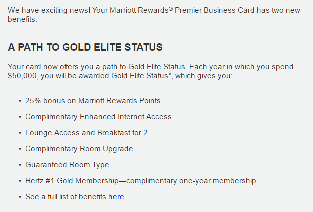 New Marriott Rewards Premier Business Card benefits