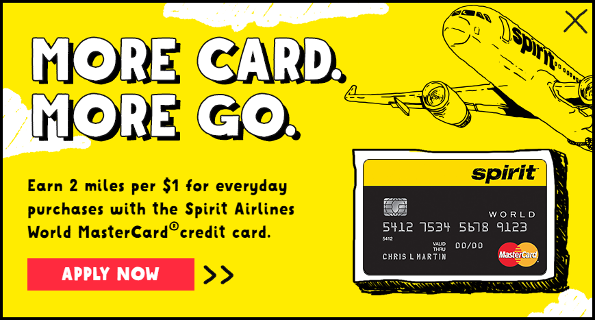 Spirit Airlines Credit Card - 2x on everyday purchases.