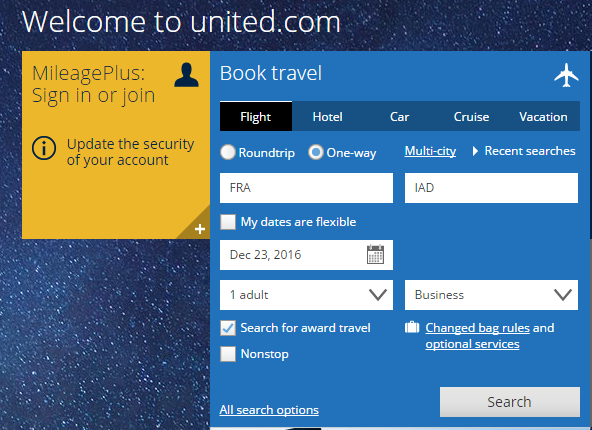United's New Award Search Tool