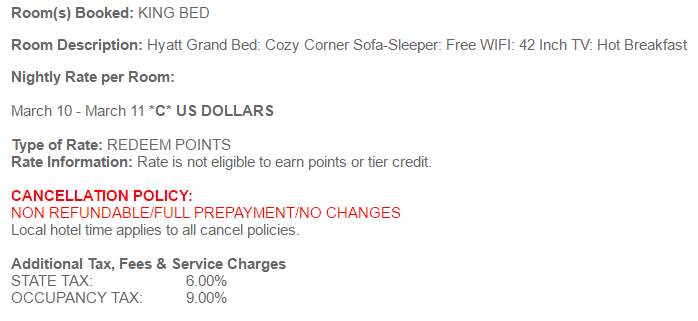 Hyatt's Award Cancellation Policy