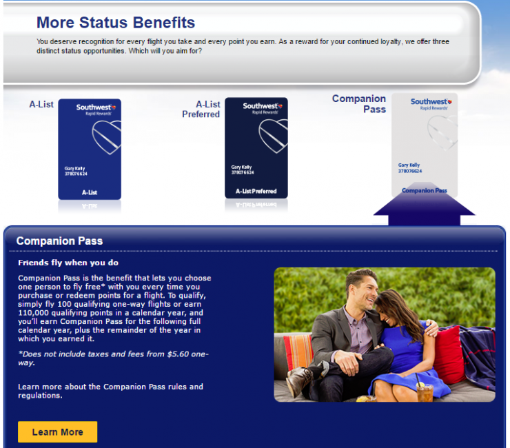 Southwest Rapid Rewards Program, Companion Pass