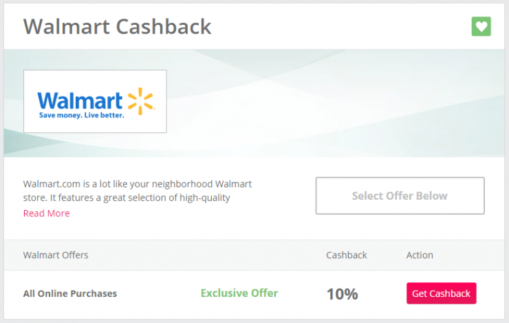 10 Percent Cashback on Walmart.com