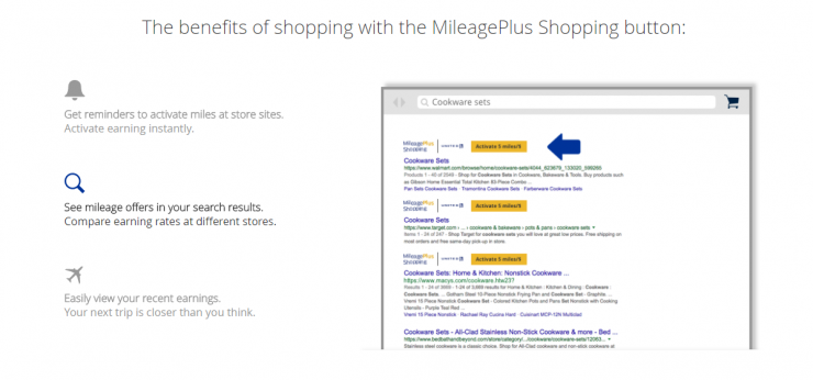 United MileagePlus Shopping Button