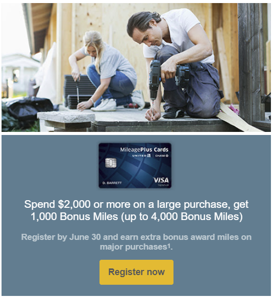 earn up to 4,000 Bonus United Mileage Plus Miles
