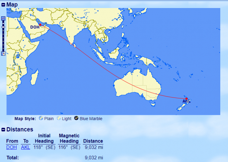 10 longest flights, Qatar, QR, DOH-AKL