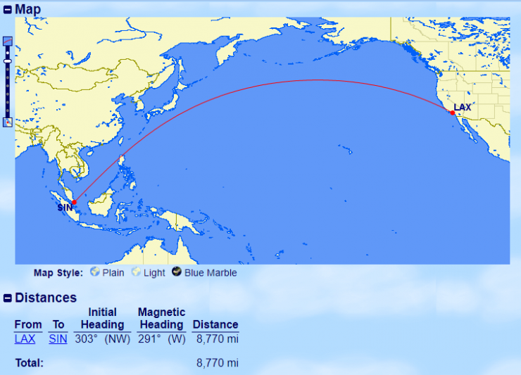10 longest flights - LAX-SIN
