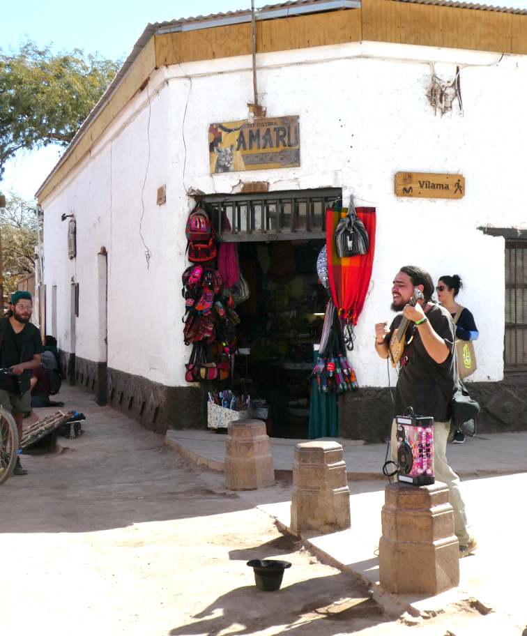 Caracoles, the main street of San Pedro de Atacama, is an adobe Khao San Road.