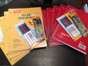 Staples supplies for Pack for a Purpose