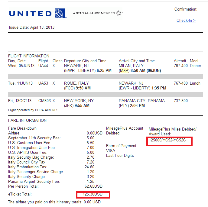 Italy Flights, we added another 20K UA miles each to return in Business Class