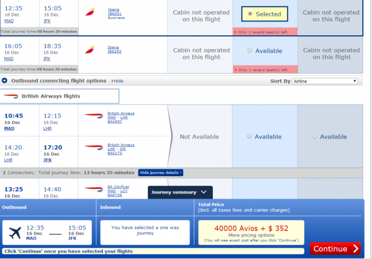 BA charging 40,000 plus $352 in fees per person each way