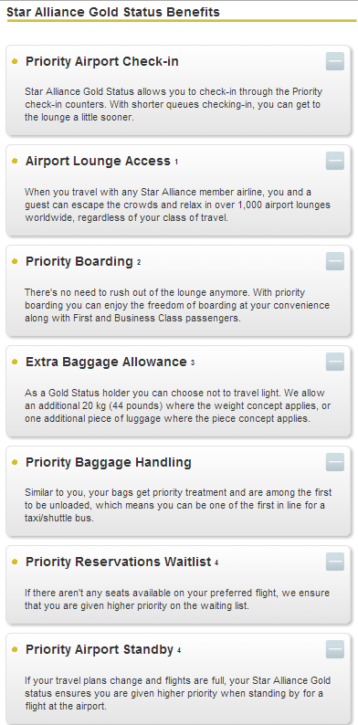 Star Alliance Gold Benefits