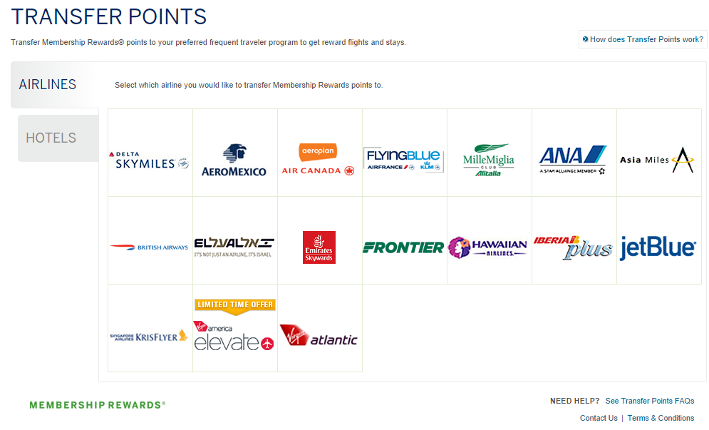 American Express Membership Rewards Transfer Partners Airlines