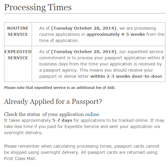 Current processing times for US Passport