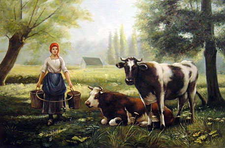 Dupre----A-Milkmaid-With-Her-Cows-On-A-Summer-Day---0