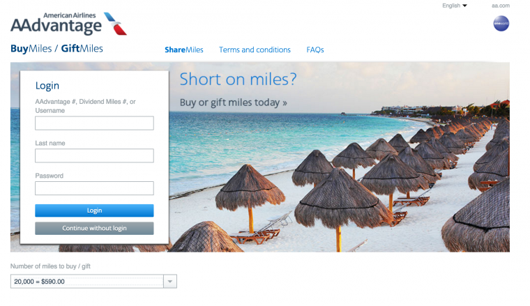 Buying AA miles