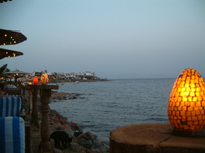 Dahab waterfront, where we would end each day with a platter of delicious mezze