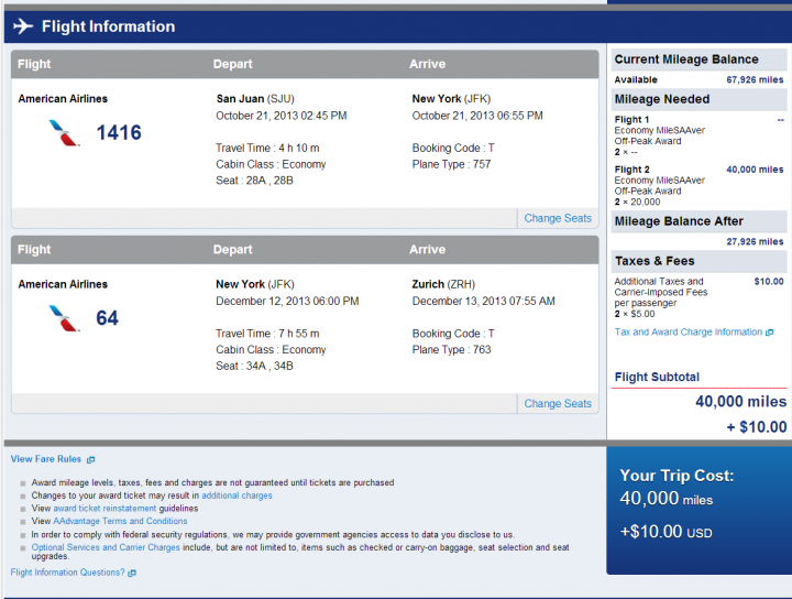 AA Reservation to NYC and Zurich