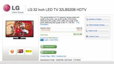 3-12-15 Dell.com Deal:  LG 32″ TV plus $125 gift card for $219