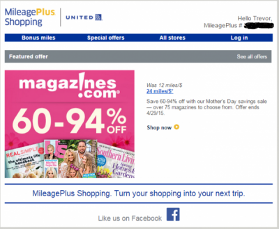 24x at Magazines.com through United Mileage Plus Shopping Portal and why you shouldn't bite