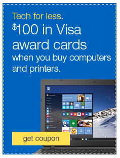 9-11-15 Deal Alert… $100 in Visa Cards on $500 Computers/Printers  at Quill.com.. will it work on Ipads?