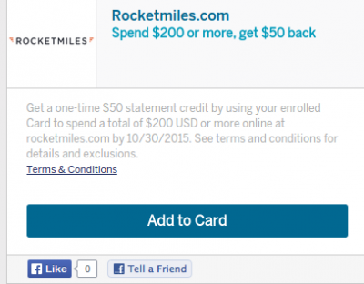 New American Express Offer: Rocketmiles $50 off $200 (Open to all! )