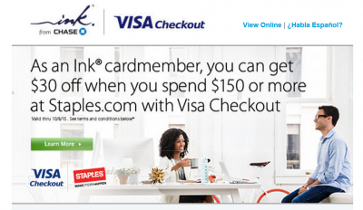 Visa Checkout Offer – $30 off $150 at Staples