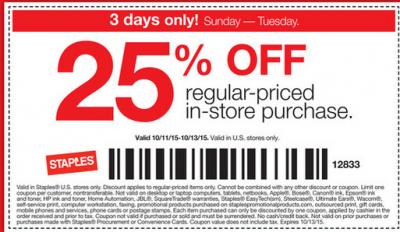 10-8-2015 Staples 25% off coming Sunday… Add Discover / Apple Pay for 47% savings/cash back.  Jet.com Devaluation?