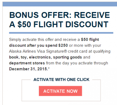 Targeted: Alaska Air card – Spend $250 in specific category stores, get $50 off an Alaska Flight