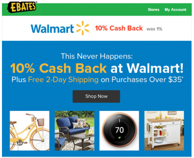 Amazing! 10 Percent Cashback on Walmart.com!